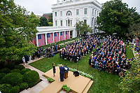 US President Donald J. Trump introduces Judge Amy Coney Barrett as his nominee to be an Associate Justice of the Supreme Court during a ceremony in the Rose Garden of the White House in Washington, DC, USA, 26 September 2020. Judge Barrett, if confirmed, will replace the late Justice Ruth Bader Ginsburg.<br /> CAP/MPI/RS<br /> ©RS/MPI/Capital Pictures