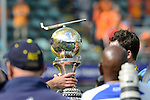 The Hague, Netherlands, June 15: The World Cup Trophy is handed over during the prize giving ceremony on June 15, 2014 during the World Cup 2014 at Kyocera Stadium in The Hague, Netherlands. (Photo by Dirk Markgraf / www.265-images.com) *** Local caption ***