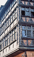 Strasbourg: Facade of Famous Building.   Kammerzell  House-- ornate and well preserved medieval civil housing building in late Gothic architecture. Houses a restaurant.
