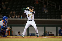 Mesa Solar Sox shortstop Eli White (21), of the Oakland Athletics organization, at bat in front of catcher Ali Sanchez (25) during an Arizona Fall League game against the Scottsdale Scorpions at Sloan Park on October 10, 2018 in Mesa, Arizona. Scottsdale defeated Mesa 10-3. (Zachary Lucy/Four Seam Images)