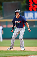 Toledo Mudhens third baseman JaCoby Jones (5) leads off first during a game against the Rochester Red Wings on June 12, 2016 at Frontier Field in Rochester, New York.  Rochester defeated Toledo 9-7.  (Mike Janes/Four Seam Images)