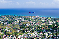 Aircraft on landing approach, Christchurch, Barbados