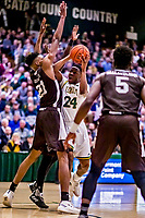 18 December 2018: University of Vermont Catamount Guard Ben Shungu, a Redshirt Sophomore from Burlington, VT, in first-half action against the St. Bonaventure University Bonnies at Patrick Gymnasium in Burlington, Vermont. The Catamounts defeated the Bonnies 83-76 in a double-overtime NCAA DI game. Mandatory Credit: Ed Wolfstein Photo *** RAW (NEF) Image File Available ***
