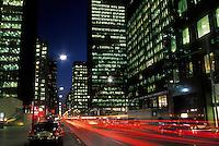 Canada, Ontario, Toronto, financial district at night