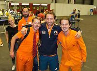 Switserland, Genève, September 20, 2015, Tennis,   Davis Cup, Switserland-Netherlands, Matwe Middelkoop greets Dutch supporters<br /> Photo: Tennisimages/Henk Koster