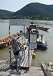 Austria, Lower Austria, UNESCO World Heritage Wachau, pedestrian and cyclist ferry from Duernstein to wine village Rossatzbach