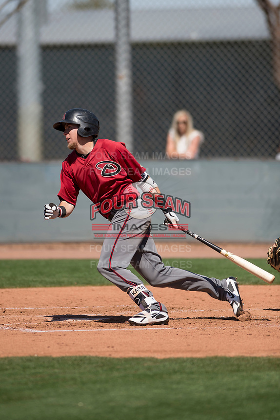 Arizona Diamondbacks outfielder Mark Karaviotis (18) during a Minor League Spring Training game against the San Francisco Giants at Salt River Fields at Talking Stick on March 28, 2018 in Scottsdale, Arizona. (Zachary Lucy/Four Seam Images)