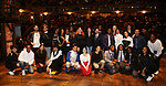 """Chancellor Richard Carranza, of the New York City Department of Education, James G. Basker and Lauren Boyd with student performers backstage before The Rockefeller Foundation and The Gilder Lehrman Institute of American History sponsored High School student #EduHam matinee performance of """"Hamilton"""" at the Richard Rodgers Theatre on 4/03/2019 in New York City."""