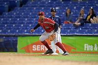 Altoona Curve first baseman Edwin Espinal (14) during a game against the Binghamton Rumble Ponies on May 17, 2017 at NYSEG Stadium in Binghamton, New York.  Altoona defeated Binghamton 8-6.  (Mike Janes/Four Seam Images)