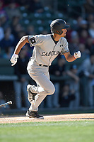 Designated hitter Noah Campbell (2) of the South Carolina Gamecocks bats in the Reedy River Rivalry game against the Clemson Tigers on Saturday, March 3, 2018, at Fluor Field at the West End in Greenville, South Carolina. Clemson won, 5-1. (Tom Priddy/Four Seam Images)