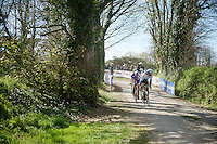 With about 5km to go, Martin Mortensen (DNK/ONE) tries to weigh in the competition of the breakaway over the last gravel section<br /> <br /> 33th Tro Bro Léon 2016