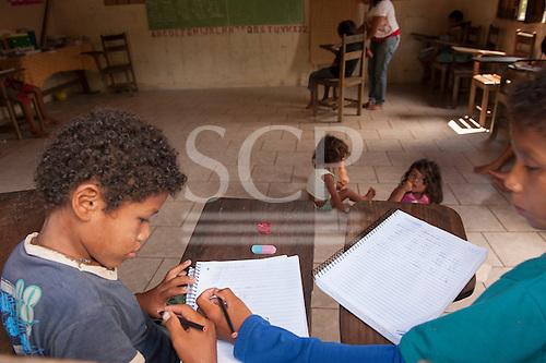 Xingu River, Para State, Brazil. The Volta Grande; Aldeia Terra Wangã da Volta Grande - Maia, Arara ethnic group. School room.