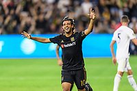 Los Angeles, CA - October 24, 2019.  Carlos Vela celebrates his second goal as LAFC defeated the Los Angeles Galaxy 5 - 3 in the Western Conference semifinal match at Banc of California stadium in Los Angeles.