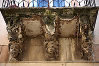 Palazzo Cosentini Baroque sculpted balcony corbels, Ragusa Ibla, Sicily