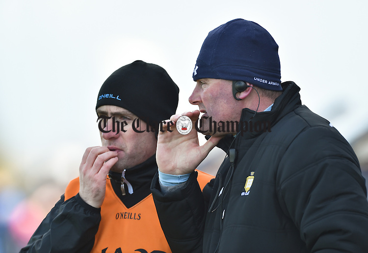 Clare selector David O Brien with coach Mick Bohan on the sideline during their National League Division 3 Round 6 game against Longford in Cusack park. Photograph by John Kelly.