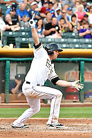 Brennan Boesch (23) of the Salt Lake Bees at bat against the Reno Aces in Pacific Coast League action at Smith's Ballpark on July 24, 2014 in Salt Lake City, Utah.  (Stephen Smith/Four Seam Images)