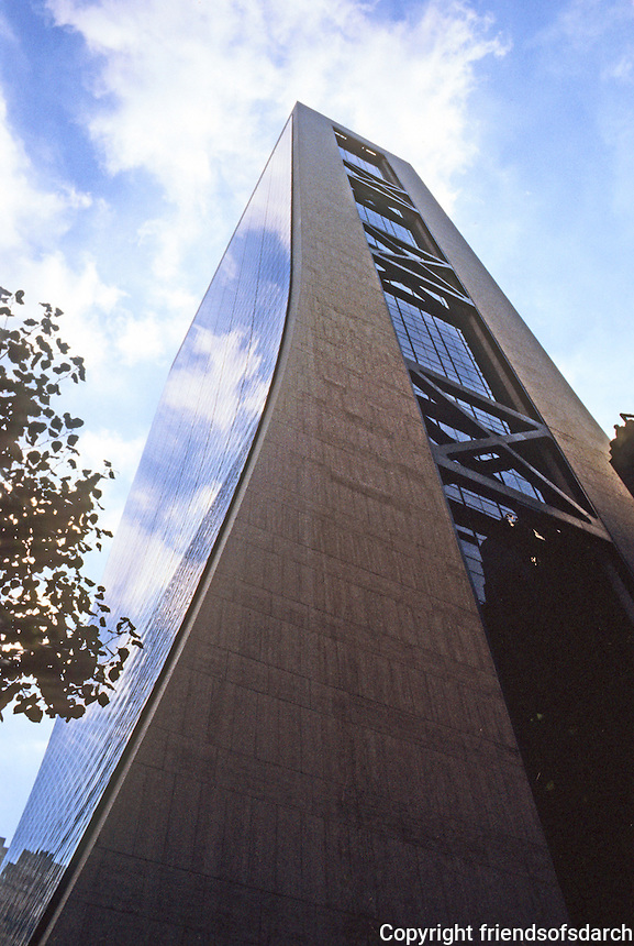 New York City: Solow Building, 9 W. 57th St.  Gordon Dunshaft, S-O-M., 1974. Concave vertical slopes on north and south facades. 50 story skyscraper.