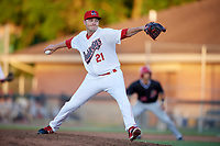 Auburn Doubledays relief pitcher David Smith (21) delivers a pitch during a game against the Batavia Muckdogs on June 15, 2018 at Falcon Park in Auburn, New York.  Auburn defeated Batavia 5-1.  (Mike Janes/Four Seam Images)