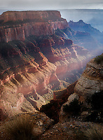 Light shining through thunderstromon on  Wotons Throne. Cape Royal. Grand Canyon National Park, Arizona