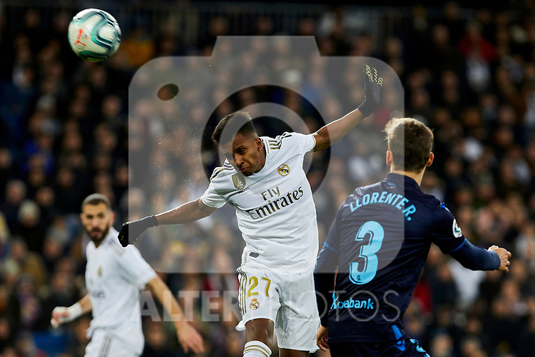 Rodrygo Goes of Real Madrid and Diego Llorente of Real Sociedad during La Liga match between Real Madrid and Real Sociedad at Santiago Bernabeu Stadium in Madrid, Spain. November 23, 2019. (ALTERPHOTOS/A. Perez Meca)