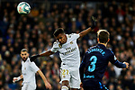 Rodrygo Goes of Real Madrid and Diego Llorente of Real Sociedad during La Liga match between Real Madrid and Real Sociedad at Santiago Bernabeu Stadium in Madrid, Spain. November 23, 2019. (ALTERPHOTOS/A. Perez Meca)