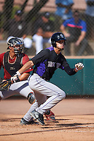 Colorado Rockies Willie Abreu (64) at bat in front of catcher Andy Yerzy (27) during an Instructional League game against the Arizona Diamondbacks on October 7, 2016 at Salt River Fields at Talking Stick in Scottsdale, Arizona.  (Mike Janes/Four Seam Images)