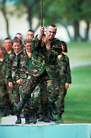 Recruits on a confidence training course at Lackland Air Force Base.