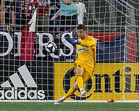 FOXBOROUGH, MA - JUNE 27: Matt Freese #1 goal kick during a game between Philadelphia Union and New England Revolution at Gillette Stadium on June 27, 2019 in Foxborough, Massachusetts.