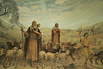 Beit Sahour, the Catholic Church at the Shepherds' Fields, a wall painting depicting the shepherds celebrating the birth of the baby Jesus