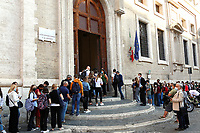 Students and their parents queuing up to enter the school on their first day at Visconti Lyceum. In Italy most of the schools reopened today for the school year beginning. <br /> Rome (Italy), September 13th 2021<br /> Photo Samantha Zucchi Insidefoto