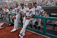Tri-City ValleyCats E.P. Reese (36), Manny Ramirez (30), Luis Santana (7), and Juan Ramirez (5) while in a fog delay during a NY-Penn League game against the Brooklyn Cyclones on August 17, 2019 at MCU Park in Brooklyn, New York.  Brooklyn defeated Tri-City 2-1.  (Mike Janes/Four Seam Images)