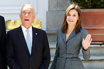 Queen Letizia of Spain receives the President of the Republic of Portugal, Mr. Marcelo Rebelo de Sousa during his official visit to Spain. April 16 ,2018. (ALTERPHOTOS/Acero)