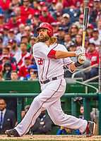 7 April 2016: Washington Nationals outfielder Jayson Werth at bat during the Nationals' Home Opening Game against the Miami Marlins at Nationals Park in Washington, DC. The Marlins defeated the Nationals 6-4 in their first meeting of the 2016 MLB season. Mandatory Credit: Ed Wolfstein Photo *** RAW (NEF) Image File Available ***