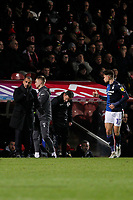 Nottingham Forest manager, Sabri Lamouchi gives instructions to Matty Cash during the Sky Bet Championship match between Brentford and Nottingham Forest at Griffin Park, London, England on 28 January 2020. Photo by Carlton Myrie.