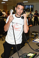 Tom Parker<br /> on the trading floor for the BGC Charity Day 2016, Canary Wharf, London.<br /> <br /> <br /> ©Ash Knotek  D3152  12/09/2016
