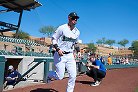 Surprise Saguaros Nick Banks (3), of the Washington Nationals organization, jogs onto the field during player introductions before the Arizona Fall League Championship Game against the Salt River Rafters on October 26, 2019 at Salt River Fields at Talking Stick in Scottsdale, Arizona. The Rafters defeated the Saguaros 5-1. (Zachary Lucy/Four Seam Images)