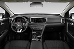 Stock photo of straight dashboard view of 2021 KIA Sportage LX 5 Door suv Dashboard