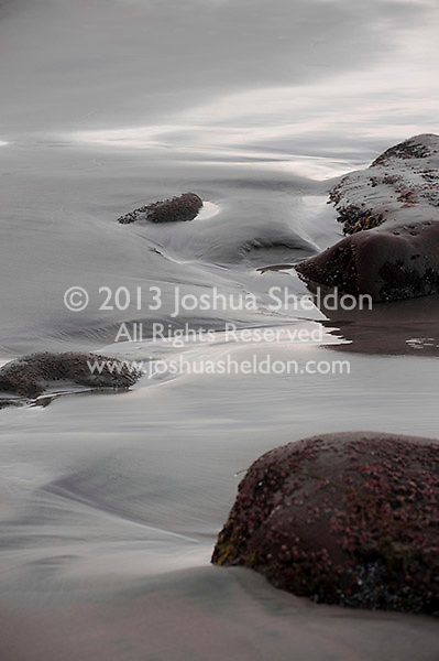 Rocks and tidal pools on a beach