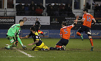 Kane Hemmings of Oxford United goes down as he is in action with Johnny Mullins of Luton Town and later has a penalty appeal turned down during the The Checkatrade Trophy Semi Final match between Luton Town and Oxford United at Kenilworth Road, Luton, England on 1 March 2017. Photo by Stewart  Wright  / PRiME Media Images.