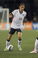 USWNT substitute midfielder Yael Averbuch (16) dribbles. In an international friendly, the U.S. Women's National Team (USWNT) (white/blue) defeated Korea Republic (South Korea) (red/blue), 4-1, at Gillette Stadium on June 15, 2013.