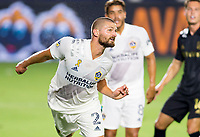 CARSON, CA - SEPTEMBER 06: Perry Kitchen #2 of the Los Angeles Galaxy heads a ball during a game between Los Angeles FC and Los Angeles Galaxy at Dignity Health Sports Park on September 06, 2020 in Carson, California.
