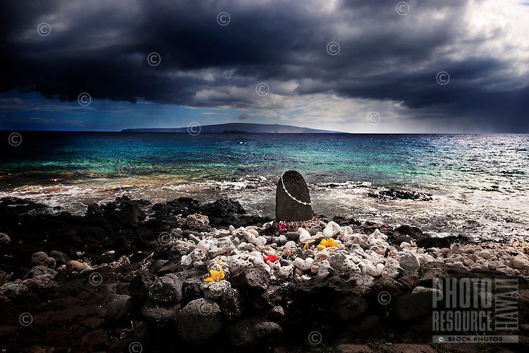 Wahi Pana, a Hawaiian cultural site and sacred place, at Wailea, Maui, with view of Molokai at horizon