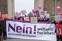 """Als Zeichen der Solidaritaet mit dem Women's March in den USA, den verhafteten Journalist*innen und Buergerrechtler*innen weltweit versammelten sich am Mittwoch den 8. Maerz 2017 zum Internationalen Frauentag Frauen unter dem Motto: """"Frauen und Buergerrechte verteidigen europaweit und weltweit – No more war! Keine Gewalt gegen Frauen! Nein heißt Nein!"""" vor dem Brandenburger Tor.<br /> Organisiert wurde die Veranstaltung von Frauen fuer Frieden und Freien Kuenstlerinnen in Berlin<br /> 16.2.2017, Berlin<br /> Copyright: Christian-Ditsch.de<br /> [Inhaltsveraendernde Manipulation des Fotos nur nach ausdruecklicher Genehmigung des Fotografen. Vereinbarungen ueber Abtretung von Persoenlichkeitsrechten/Model Release der abgebildeten Person/Personen liegen nicht vor. NO MODEL RELEASE! Nur fuer Redaktionelle Zwecke. Don't publish without copyright Christian-Ditsch.de, Veroeffentlichung nur mit Fotografennennung, sowie gegen Honorar, MwSt. und Beleg. Konto: I N G - D i B a, IBAN DE58500105175400192269, BIC INGDDEFFXXX, Kontakt: post@christian-ditsch.de<br /> Bei der Bearbeitung der Dateiinformationen darf die Urheberkennzeichnung in den EXIF- und  IPTC-Daten nicht entfernt werden, diese sind in digitalen Medien nach §95c UrhG rechtlich geschuetzt. Der Urhebervermerk wird gemaess §13 UrhG verlangt.]"""