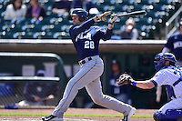 Cole Gillespie (28) of the New Orleans Zephyrs swings at pitch against the Iowa Cubs at Principal Park on April 23, 2015 in Des Moines, Iowa.  The Zephyrs won 9-2.  (Dennis Hubbard/Four Seam Images)
