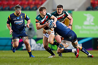 6th February 2021; Mattoli Woods Welford Road Stadium, Leicester, Midlands, England; Premiership Rugby, Leicester Tigers versus Worcester Warriors; Jack van Poortvliet of Leicester Tigers looks to offload in a tackle