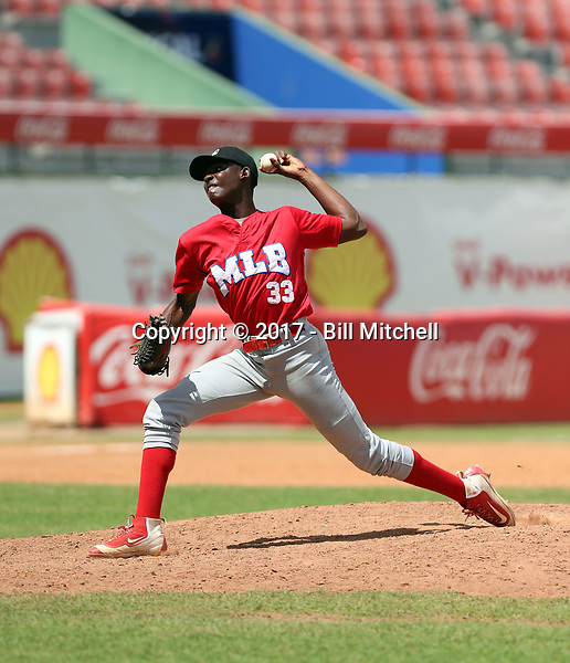 Diomede Sierra participates in the MLB International Showcase at Estadio Quisqeya on February 22-23, 2017 in Santo Domingo, Dominican Republic.