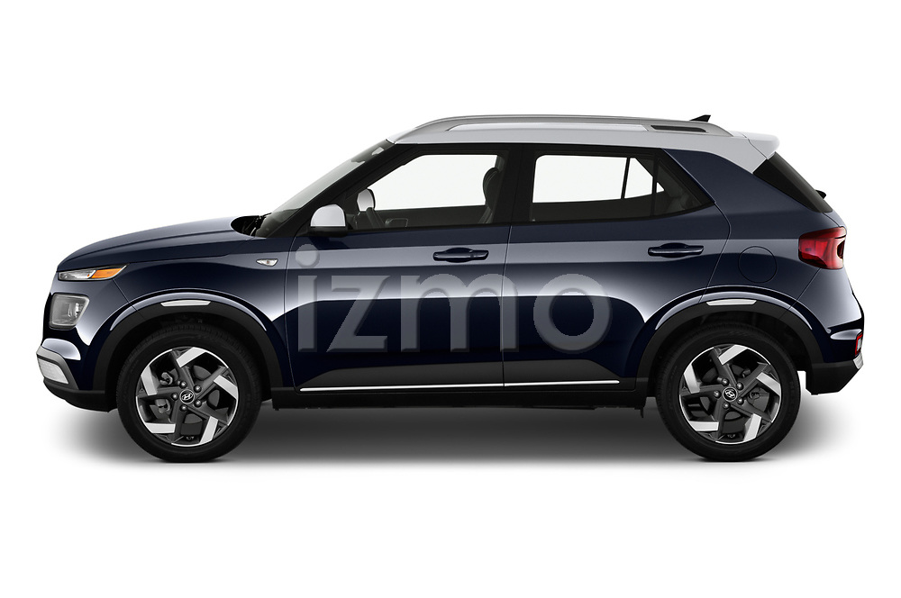 Car Driver side profile view of a 2020 Hyundai Venue Denim 5 Door SUV Side View