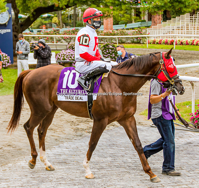 OCT11, 2020 : Trade Deal in the Grade 3 Futruity Stakes, for 2-year olds on the turf, at Belmont Park, Elmont, NY.  Sue Kawczynski/Eclipse Sportswire/CSM