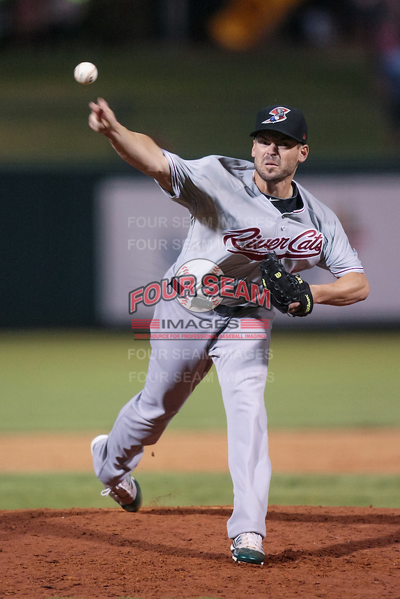 Graham Godfrey (34) in action during the MiLB matchup between the Sacramento River Cats and the Oklahoma City Redhawks at Chickasaw Bricktown Ballpark on August 12th, 2012 in Oklahoma City, Oklahoma. The River Cats defeated the Redhawks 3-1  (William Purnell/Four Seam Images)