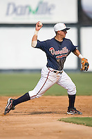 Shortstop Chris Shehan (13) of the Danville Braves makes a throw to first base at Dan Daniels Park in Danville, VA, Sunday July 27, 2008.